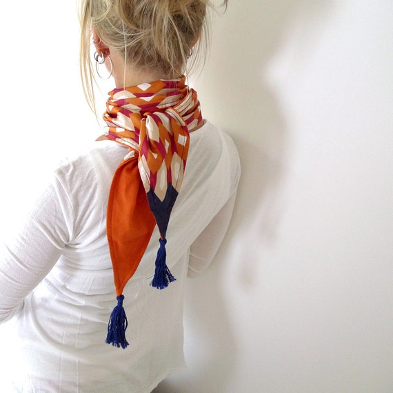 tassel fashion scarf, vintage fabric with jersey lining, orange, burgundy, ultramarine blue, OOAK - Circus