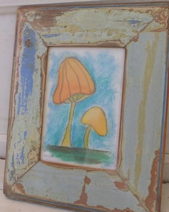 Two Mushrooms - Pastel Drawing