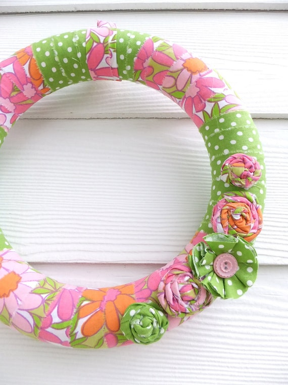 Pink and Green Floral Wreath - Vintage Sheeting