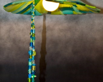 Groovy Lamp Fused Glass Aqua and Green