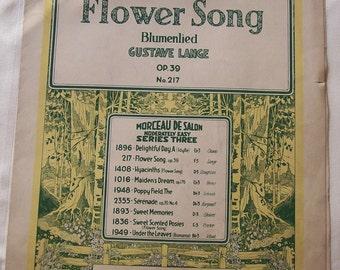 Flower Song (Blumenlied) Op 39 Gustave Lange Vintage Piano Sheet Music