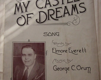 My Castle of Dreams Song Vintage Piano Sheet Music 1930s
