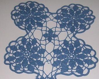 Vintage Crochet Blue Flower Medallion Doily 9 X 13