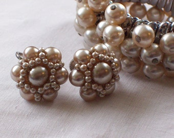 Expansion Bracelet and Earrings Gorgeous Vintage Japanese Glass Pearl Marked Made in Japan Goft for Her