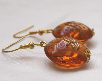 Earrings Amber Colored Lampwork Glass Bead Pink Roses Wedding Cake Delicate Feminine Floral Gift for Her