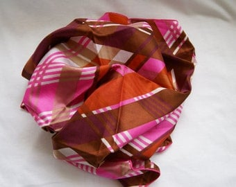 Retro Vintage Fashion Scarf 1970s Hot Pink Dark Maroon Tan Pumpkin Orange Brown Abstract Plaid Pattern on White Background NOS New Old Stock