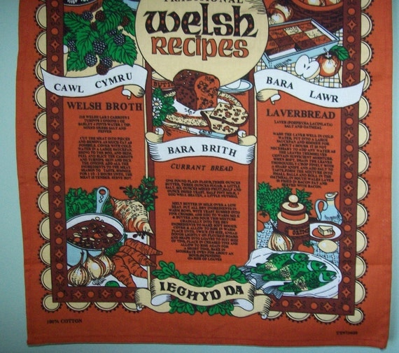 Vintage Hand Kitchen Dish Towel Traditional Welsch Recipes