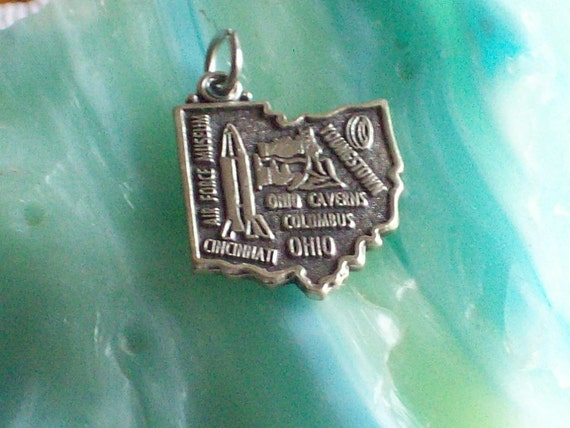 Vintage Sterling Silver State Charm Pendant Ohio