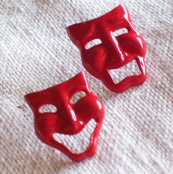 Vintage Retro 1970s 1980s Bright Cherry Lipstick Red Earrings Comedy Tragedy Theater Metal Pierced Mod Chic Wild  Punk Funky Glossy Fun Valley Girl Destash