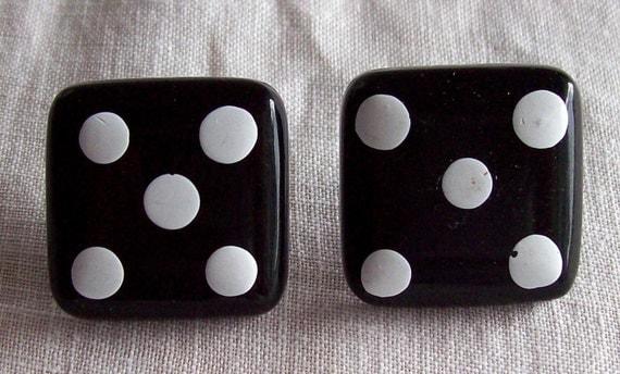 Vintage Retro 1970s 1980s Black White Dots Square Dice Earrings Number No 5 Chunky Plastic Pierced Mod Wild Fun Valley Girl Destash