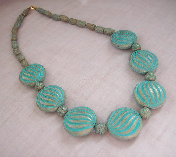Vintage Necklace Brass Antique Verdigris Turquoise Blue Green Patina Bead Statement Circa 1980s