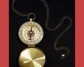 Steampunk Golden Brass Pocket Compass Bronze Necklace