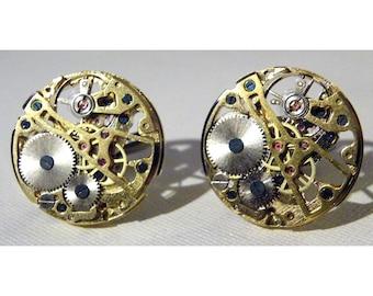 Steampunk Brass Pocket Watch Clockworks Cuff Links Clock Gears Cufflinks Mens Steam Punk