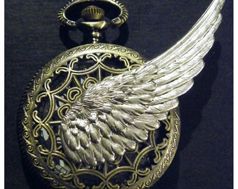 Steampunk Time Flies Pocket Watch Necklace or Chain Fob Tempus Fugit