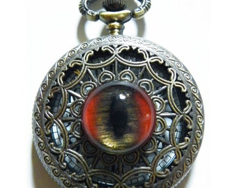 Red Dragon Demon Glass Eye Pocket Watch Necklace or Chain Fob