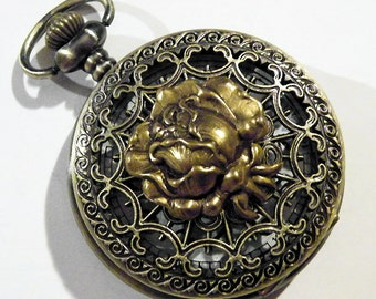 Steampunk Golden Rose Pocket Watch Necklace or Chain Fob