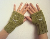 Green Fingerless Gloves Mittens with Heart - FREE SHIPPING