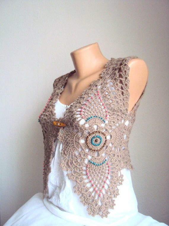 Light Brown Vest Shrug Coffee with Milk for Mothers Day Gift for her