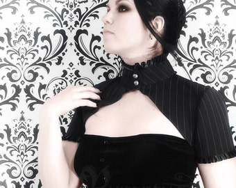 Victorian pinstripe shrug with short sleeves