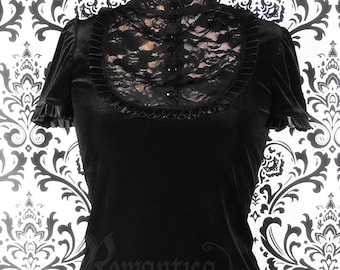 Victorian velvet and lace top
