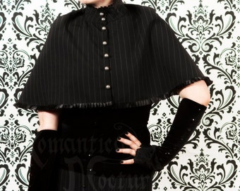 Victorian pinstripe capelet with pleats and buttons
