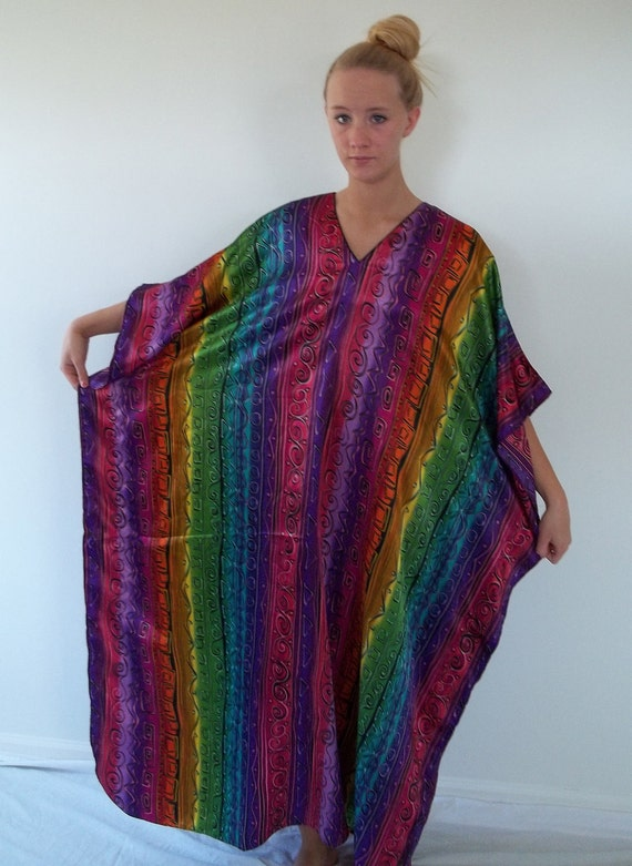 Caftan colorful silky v neck one size fits all at lilacinspirations