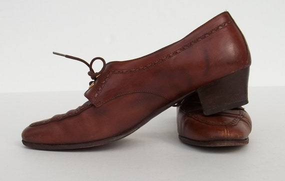 Vintage shoes Attilio italian lace up brown leather low heel size 38 (7 1/2) at lilacinspirations