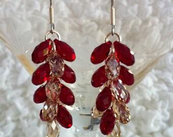 Grape Earrings (Siam & Golden Shadow)