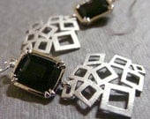 Emerald cut jet glass stone with geometric modern square silver dangle earring-Lincoln Road