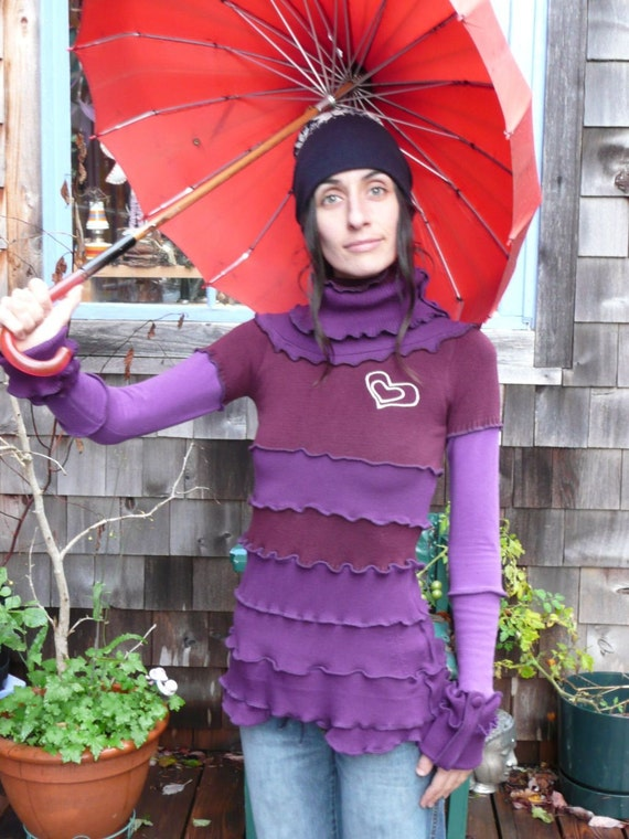 lots of purple reconstructed pixie turtle neck sweater