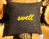SWELL - 20x20 Inch Recycled Felt Applique Pillow - Charcoal and Gold