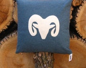 RAM - 20x20 Inch Recycled Felt Applique Pillows - Antique White and Denim