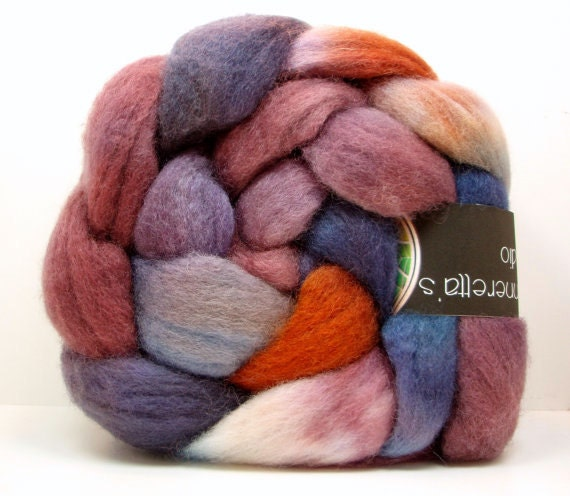 SALE MYTHIC Handpainted BFL/Silk Top Spinning Fiber 4 oz