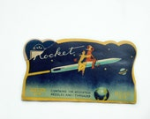 Paper Epherma Sewing Needle Case from the 1950's - Mid Century - Woman and Man on Rocket - Paper Epherma