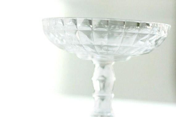 Pedestal bowl Catch All - Cut Glass Crystal Look