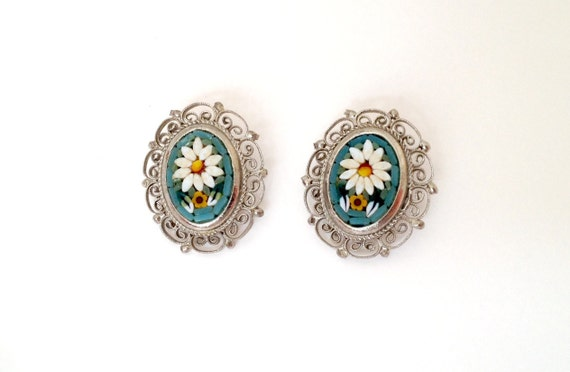 Micro Mosaic Earrings - Vintage Clip on Micro Mosaic Earrings Daisies and Sunflowers in a Silver Frame