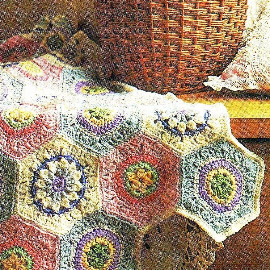 3 Vintage Hexagon Crochet Square Flower Motifs Granny Square