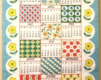 Bicentennial Americana Sequined 1976 Kitchen Wall Calendar Vintage