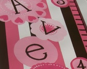 Neopolitan Memories-- A Hand Painted Personalized Pink and Brown Growth Chart with Handcrafted wooden frame for your little Girl