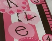 Neopolitan Memories---Hand Painted Personalized Growth Chart with Handcrafted Frame