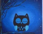 Mr. Hoot's Nighty Night-ORIGINAL Canvas Painting 12inx12in