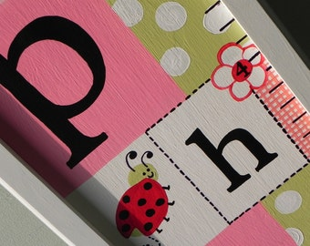 The Lovley Little Lady Bug--Hand Painted Personalized Framed Wooden Growth Chart