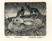 "Nicholas Wilson Etching of a Rabbit & Coyotes ""NIGHTFALL"""