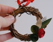 Holiday Mini Wreath Ornament in Red and Greens