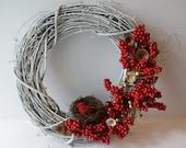 Winter Bird and Berries Wreath - 14 inch