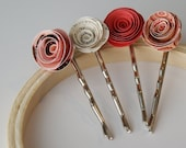Pretty Charming - Paper Flower Bobby Pins Set of 4