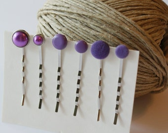 ON SALE Matte Plum Purple Bobby Pins - Set of 6