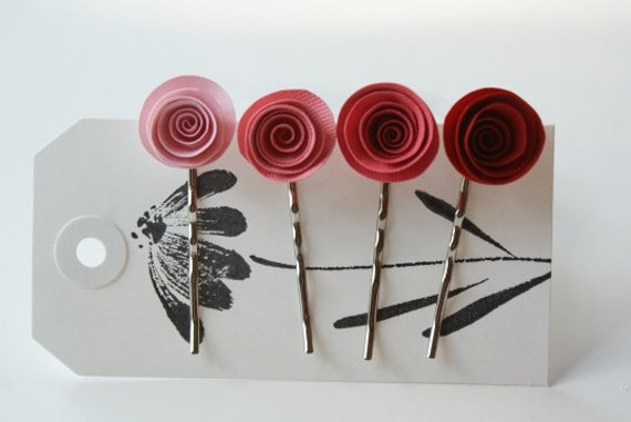 Perfectly Pretty in Pinks and Red - Paper Flower Bobby Pin Set of 4