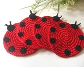 Ladybug Crochet Coasters Red Black . Beverage Nature Life Drink Dots Ladybird Ladybeetle Decor Crochet Cute Collection - Set of 4 Sale