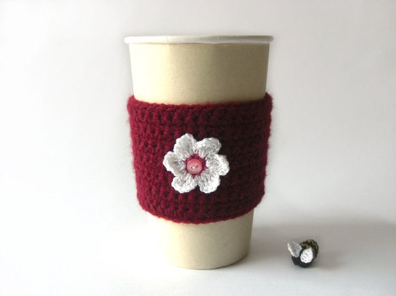Wine Cup Cozy . Travel Mug Tea Drinks Beverage Coffee Hot Cold Rose Sleeve Eco Friendly Cozies Gifts